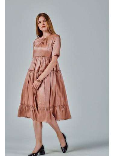 JEANNE D'ARC A Form Büzgülü Salaş Rengi Elbise  Pudra